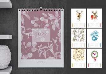 Fototapeta Watercolor Illustration 2022 Calendar obraz