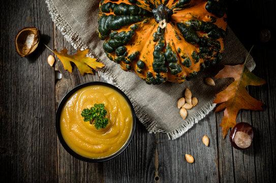 delicious autumn pumpkin soup