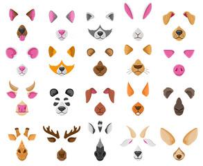 Fototapeta premium Cartoon selfie or video chat animal faces masks. Cute animals video chat effects, dog, fox, panda nose and ears vector illustration set. Animal avatars for selfie app