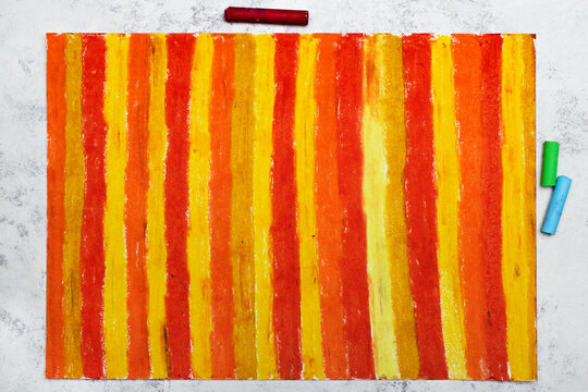 Colorful oil pastel drawing. Abstract striped patterns