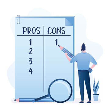 Businessman with big pencil make important business decision. Huge notebook sheet Pros and Cons in columns list. Male character thinking about Advantages or Disadvantages.