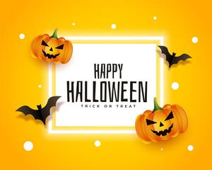 Fototapeta realistic happy halloween card with bats and pumpkins obraz