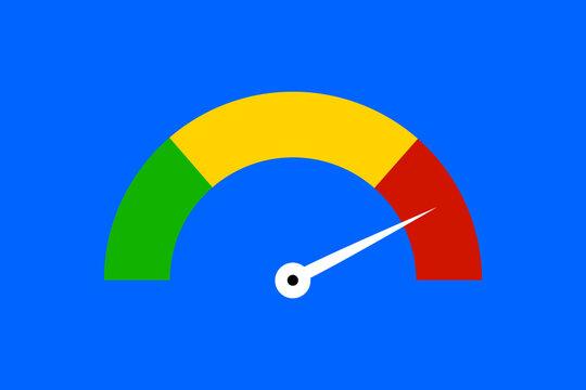Dreifarbiger Anzeiger im Halbkreis