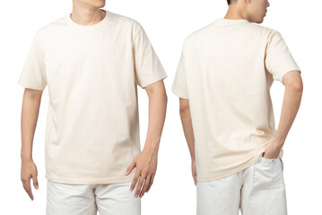 Obraz Young man in blank beige t-shirt mockup front and back used as design template, isolated on white background with clipping path. - fototapety do salonu