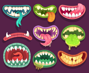 Obraz Monsters mouths. Halloween scary monster teeth and tongue in mouth. Funny jaws and crazy maws of bizarre creatures cartoon vector set - fototapety do salonu
