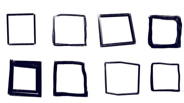 set of black hand down frames