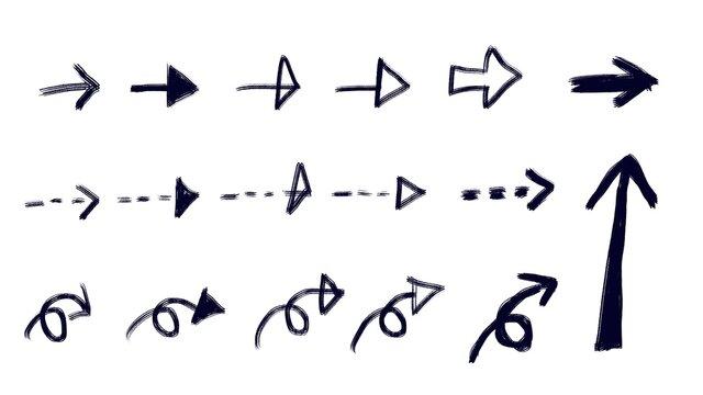 black hand drawn arrows