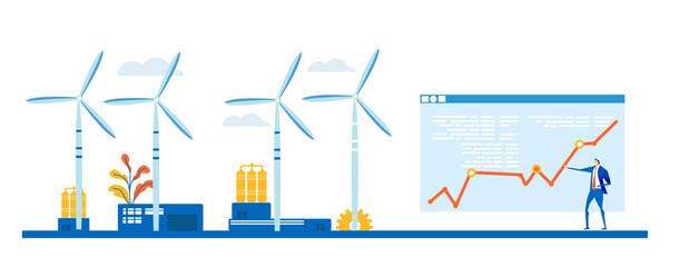 Obraz Alternative energy concept illustration, wind turbine generators. Business team talking and making decisions next to wing turbines. - fototapety do salonu