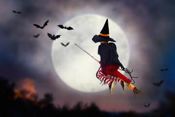 Halloween witch flying broom. Huge moon and bat.