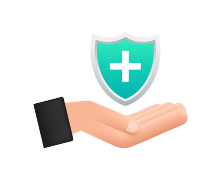 Health insurance. Hands holding insurance sign. Medical protection, medical insurance concepts. Flat design. Vector stock illustration.