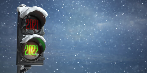 Fototapeta Happy new year 2022. Traffic light with green light 2022  and red 2021 on sky background. obraz