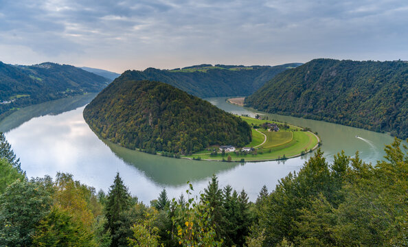 Dramatic view of the Donauschlinge (Danube bend or loop), a spectacular meander where the mighty river makes a 360 degree turn, Upper Austria