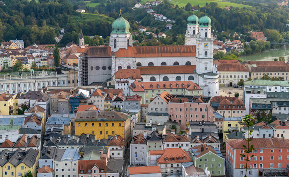 """St. Stephen's Cathedral (Dom St. Stephan) Passau, Lower Bavaria, Germany, Also known as the Dreiflüssestadt (""""City of Three Rivers"""") where the Danube is joined by the Inn and the Ilz"""