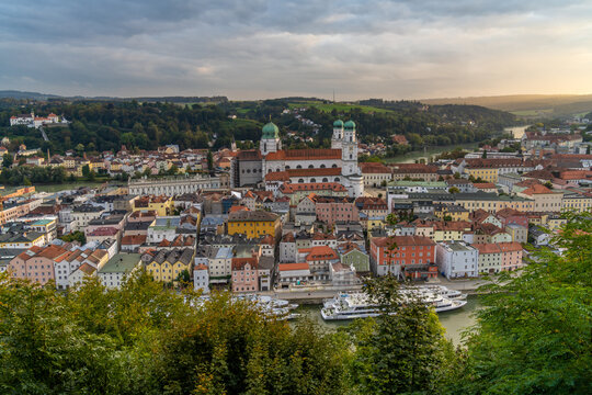 View of trhe old city of Passau from the Veste Oberhaus, Lower Bavaria, Germany, Also known as the Dreiflüssestadt (City of Three Rivers) where the Danube is joined by the Inn h and the Ilz