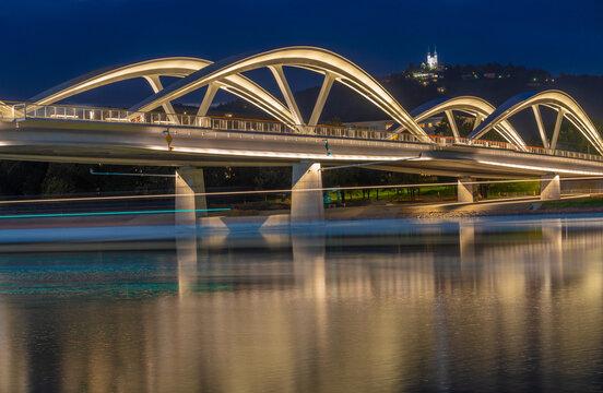 New Danube bridge in Linz, the capital of Upper Austria and third-largest city in Austria.