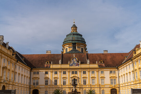 Melk (Mölk) in Lower Austria, next to the Wachau valley along the Danube. Famous for its massive baroque Benedictine monastery (Melk Abbey).