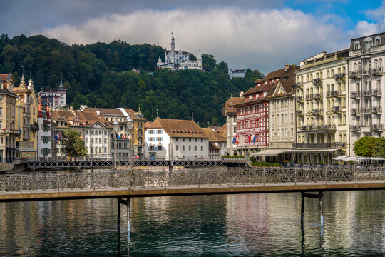 View of the city of Lucerne, along the quais of the Reuss, Central Switzerland