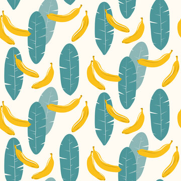 Seamless pattern with bananas and leaves
