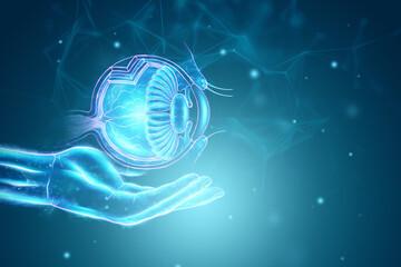 Fototapeta Realistic human eye hologram with medical indicators. Vision concept, laser eye surgery, catheract, ostegmatism, modern ophthalmologist. 3D illustration, 3D render obraz
