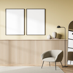 Obraz Light exhibition room interior with armchair and drawer, mockup poster - fototapety do salonu
