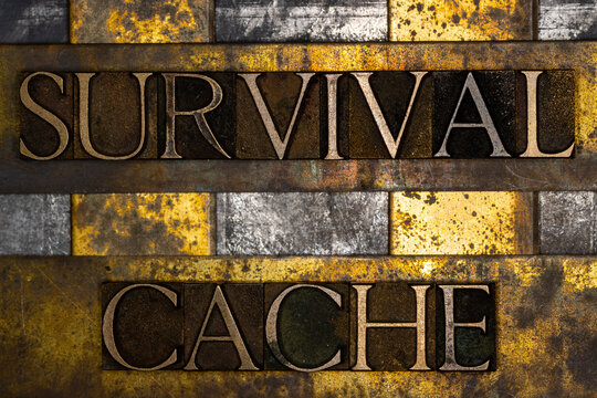 Survival Cache text on textured grunge copper and vintage gold background