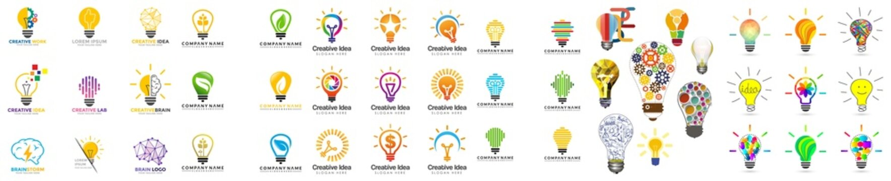 business ideas symbol. nd creative Can make the business successful as well. Light Bulb icon set, Idea icon symbol vector, Sharing business ideas black icon concept