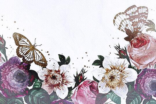 Arrière plan avec dessins de fleurs et papillon