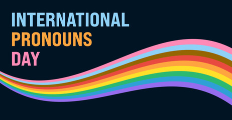Obraz International Pronouns Day Banner. Vector Banner Design Template for International Pronouns Day with Text and Pride Flag Wave Illustration on Dark Background.  - fototapety do salonu