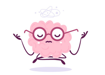 Vector Creative Illustration of Thoughtful Pink Human Brain Character in Glasses on White Background. Flat Doodle Style Knowledge Concept Design of Levitation Yogi Brain