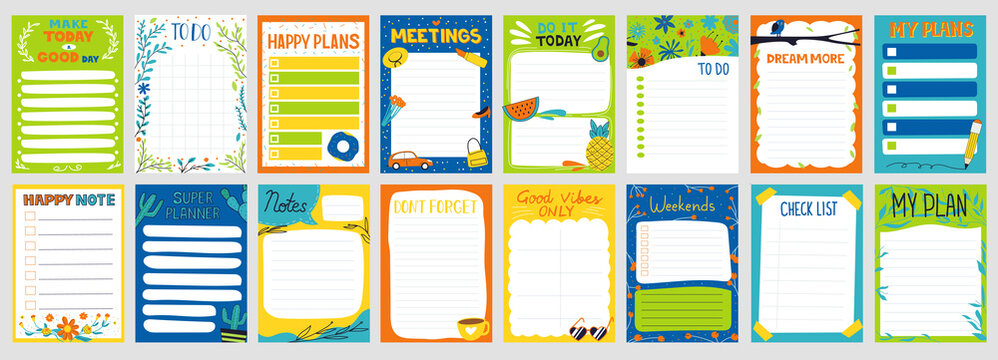 Cute planner. Notepad to do list. Paper page with colorful decoration. Schedule card and memo mockup. Organizer sheets templates set. Kids school stationery. Vector agenda collection