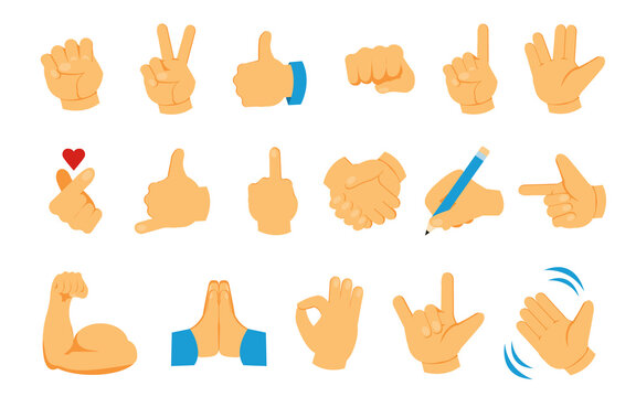 Hand emoji. Palm fist and fingers social emoticon collection. Thumb up and greeting waving arm. Victory and handshake gestures. Isolated body parts. Vector online communication symbols set