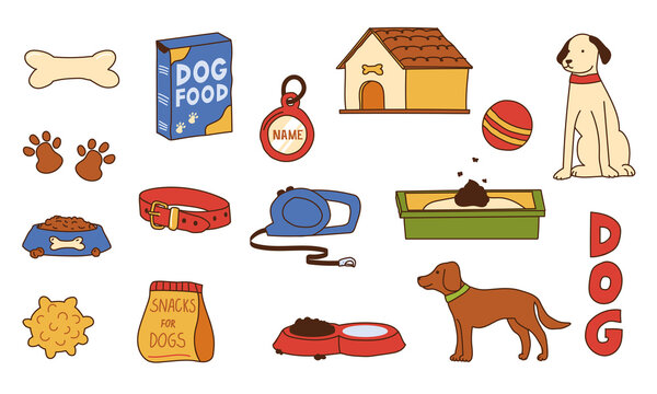Dog supplies. Doodle pet shop assortment. Food and toys for puppies. Playing ball or bone. Collar with leash. Doggy booth. Vet store merchandise. Vector hand drawn canine equipment set