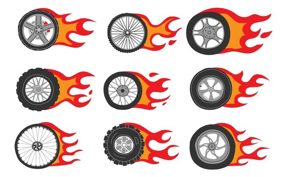 Flame wheels. Doodle car motorcycle and bicycle tires with dynamic fire. Isolated burning automobile circles for branding and logo. Fast driving icons. Vector hand drawn shapes set