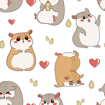 Hamster pattern. Cartoon seamless texture with funny fluffy pet. Home happy animal print for kids wallpaper. Rodent character with kawaii emotion expressions. Vector chipmunk background