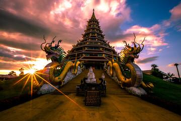 Fototapeta Wat Hyua Pla Kang, Chinese temple in Chiang Rai Thailand, This is the most popular temple in Chiang Rai. obraz