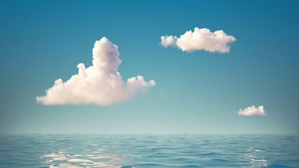 Obraz 3d render, abstract simple background with seascape. White clouds in the blue sky above the calm water with reflection. Minimal panoramic wallpaper - fototapety do salonu