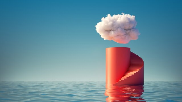 3d render, abstract minimal background. White cloud in the blue sky above the red cylinder podium with steps, empty pedestal and water. Simple scene for product presentation