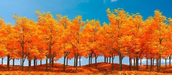 Herfstbos, bladeren vallen in grondlandschap op herfstachtergrond, 3D-rendering