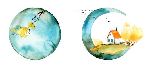 Fall, winter forest, tree, fur tree, pine watercolor illustration. Landscape, scenery, full moon, crescent arrangement