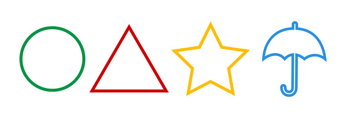 Fototapeta The Squid Game Symbols,Sign.Circle,star,triangle.,umbrella.Korean drama.Vector red,green,yellow,blue symbols isolated on white obraz