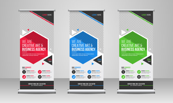 Corporate business promotion roll up or x banner template design with creative abstract background, company logo & icon. Conference, meeting or training event marketing rack card, banner & flyer.