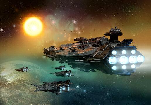 space ship fleet 3D illustration