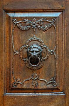 Fragment of an old wooden door with a bronze door handle in the shape of a lion's head