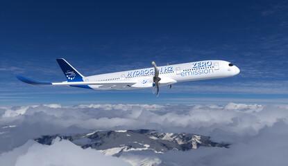 Fototapeta Blue Hydrogen filled H2 Aeroplane flying in the sky - future H2 energy concept. obraz