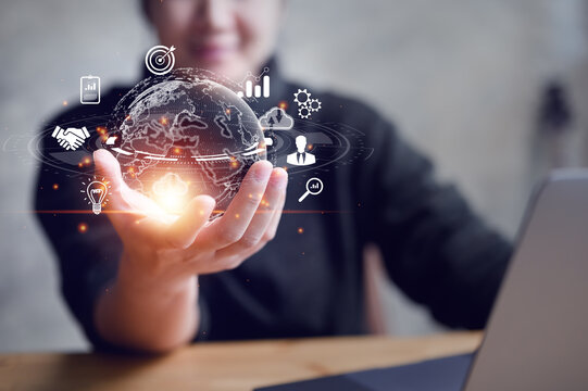 woman Hand holding virtual Global Internet connection metaverse. Business global internet connection application technology and digital marketing, Financial and banking, Digital link tech, big data.