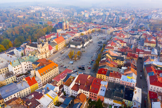 Autumn landscape of Jihlava downtown with gothic Church of St. James, St. Ignatius Church and Municipal Hall on large main square, Vysocina Region, Czech Republic..
