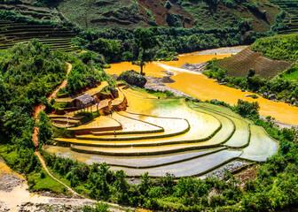 Beauty of rice terraces in watering season in Vietnam.