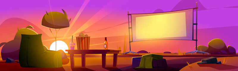 Obraz Outdoor cinema at sunset summer landscape, open air movie theater with beanbag chair, beer, pop corn bucket on low table front of large outdoors screen on dusk background Cartoon vector illustration - fototapety do salonu