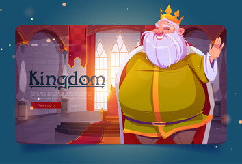 Obraz Kingdom cartoon landing page, king in palace, medieval royal family character, smiling fat monarchy person in gold crown and luxury dressing in throne room, fairytale game personage, Vector web banner - fototapety do salonu