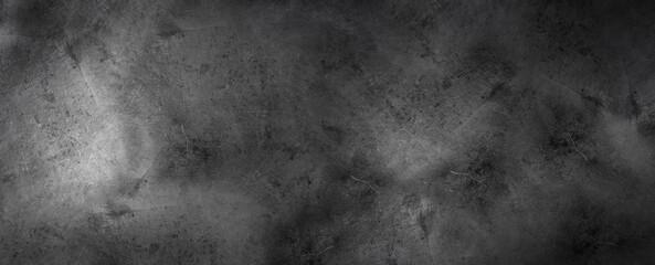 Fototapeta Black Dark rough concrete wall wide texture - dark grunge background obraz